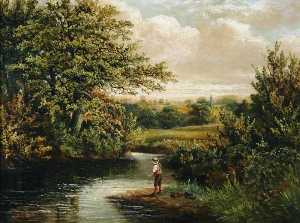 Benjamin Hold - A Boy Fishing in a Wooded River Landscape