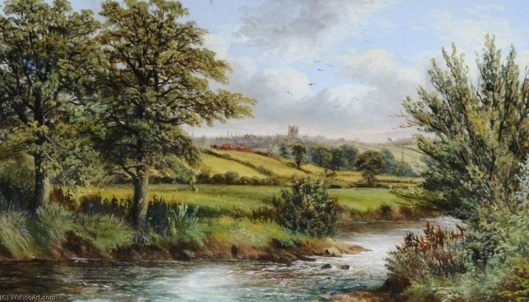 Canon Hall Park River Meadow with Church, South Yorkshire by Benjamin Hold | Museum Art Reproductions | ArtsDot.com