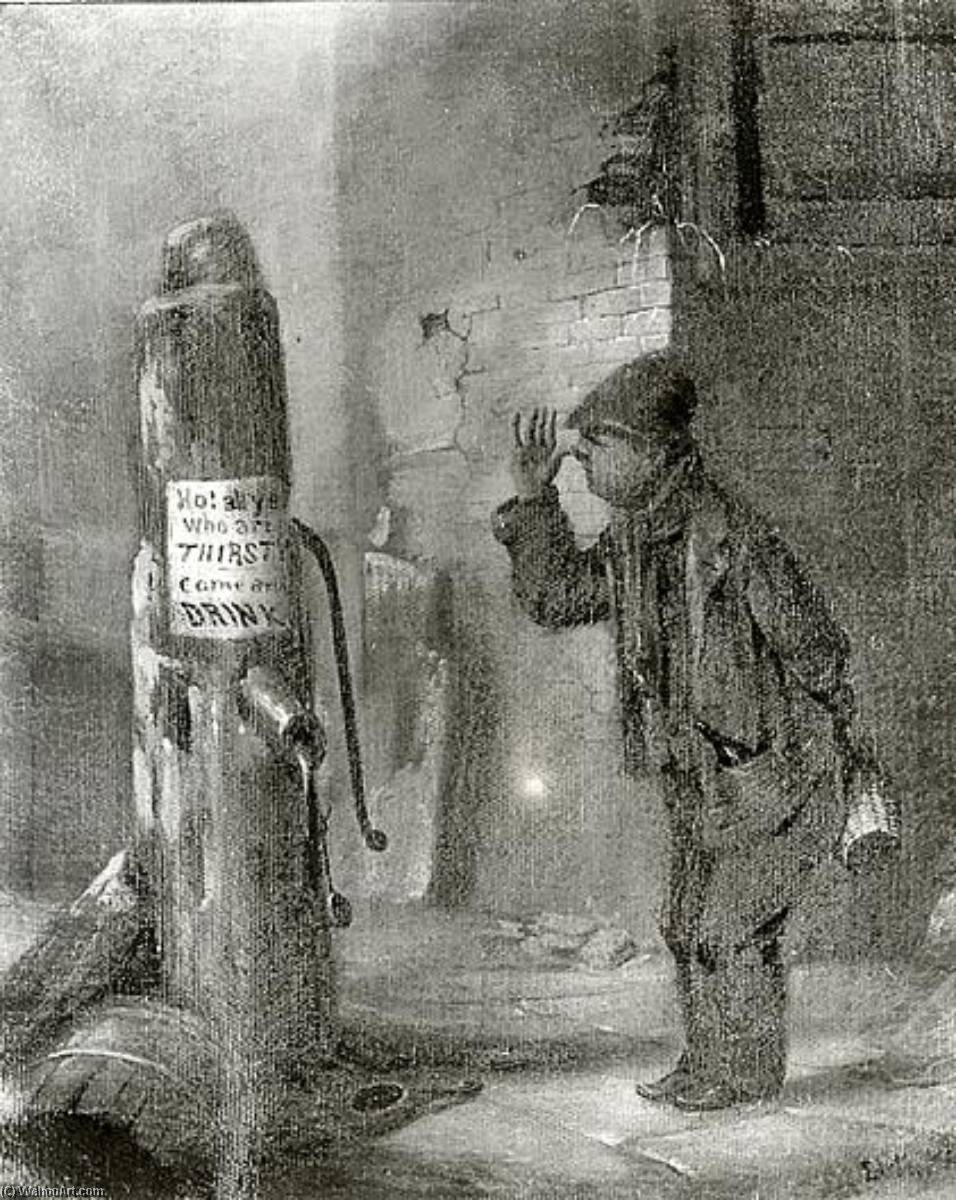 Boy at Pump, (painting), 1859 by David Gilmour Blythe (1815-1865) | Oil Painting | ArtsDot.com