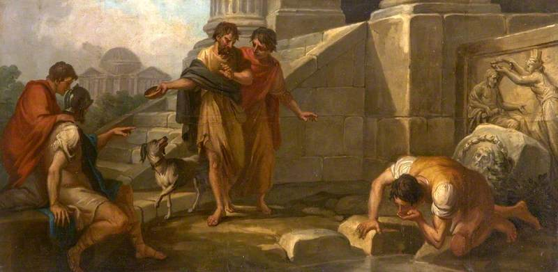 Diogenes Casting Away His Wooden Bowl as a Superfluity, on Seeing a Youth Drinking from His Hand (a set of three decorative wall panels), 1768 by Antonio Zucchi (1726-1795, Italy) | Museum Quality Reproductions | ArtsDot.com
