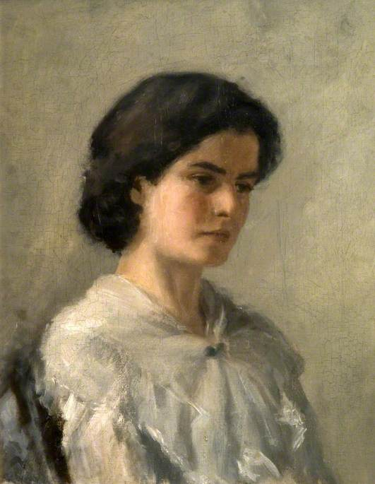 Marian (May) Powys (1882–1972) with a Lace Shawl, 1903 by Gertrude Mary Powys | Painting Copy | ArtsDot.com