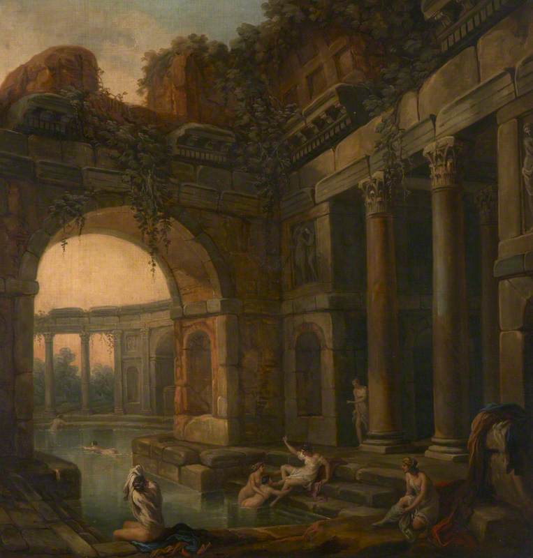Ruins of Classical Baths with Nymphs Bathing (a set of six decorative wall panels), 1781 by Antonio Zucchi (1726-1795, Italy) | Art Reproduction | ArtsDot.com