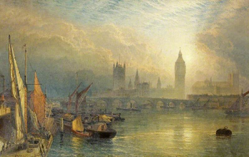 The New Houses of Parliament and the Thames, 1875 by Henry Thomas Dawson (1844-1878, United Kingdom) | Art Reproduction | ArtsDot.com