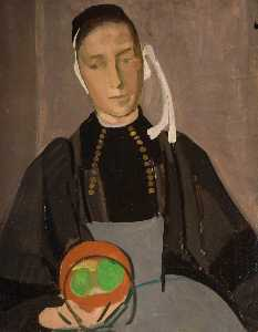 John Currie - Breton Woman with Apples