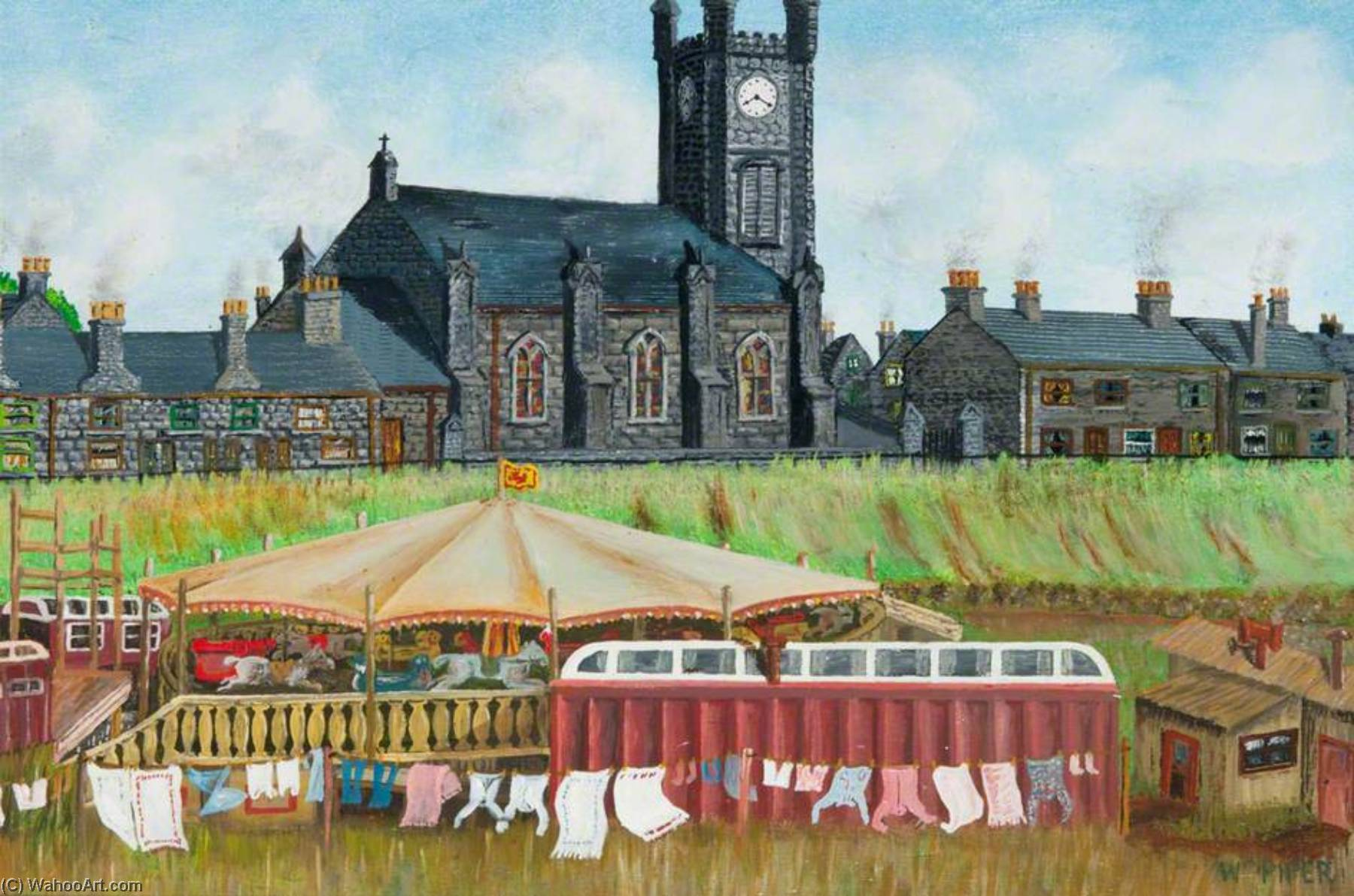 Circus and Shows on the Haugh, Backbrae Street and Parish Church, Kilsyth, 1950 by William Piper | Paintings Reproductions William Piper | ArtsDot.com