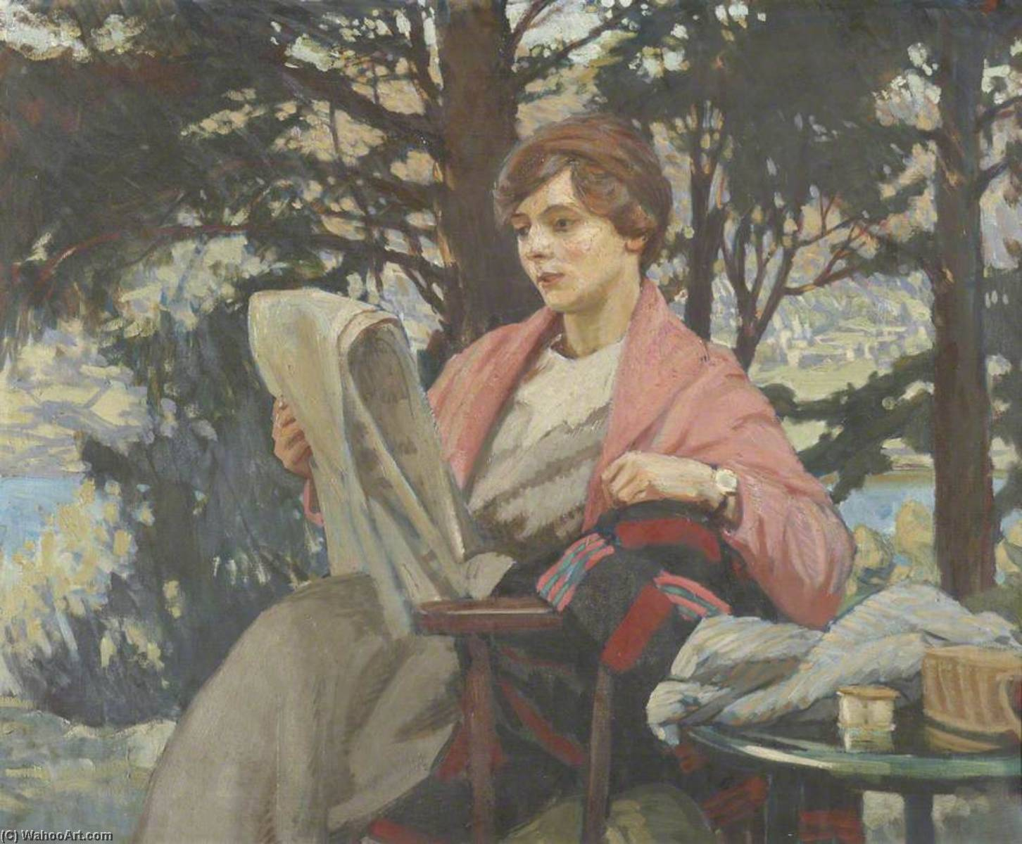 Barbara Collingwood Reading Casualties, 1918 by Dora Altounyan | Museum Art Reproductions Dora Altounyan | ArtsDot.com