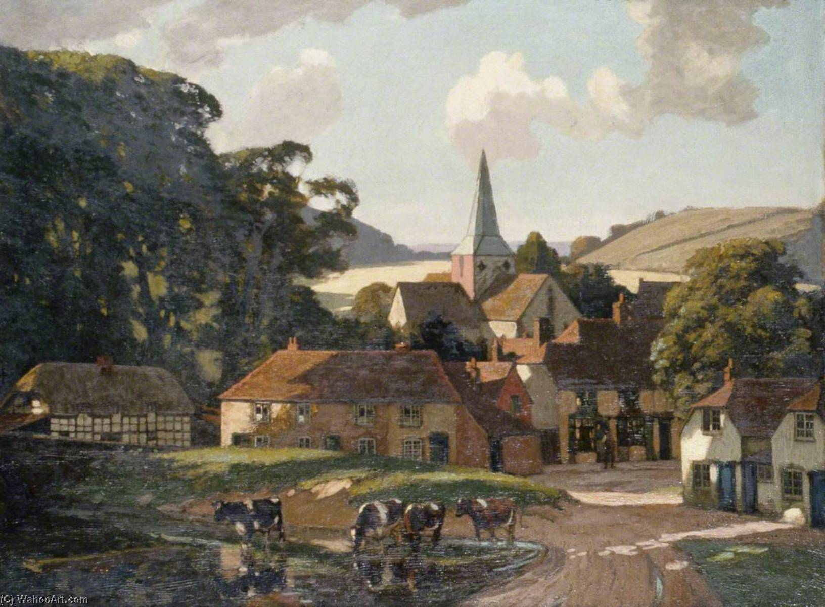 Harting Village and Pond, West Sussex by Gunning King | Painting Copy | ArtsDot.com