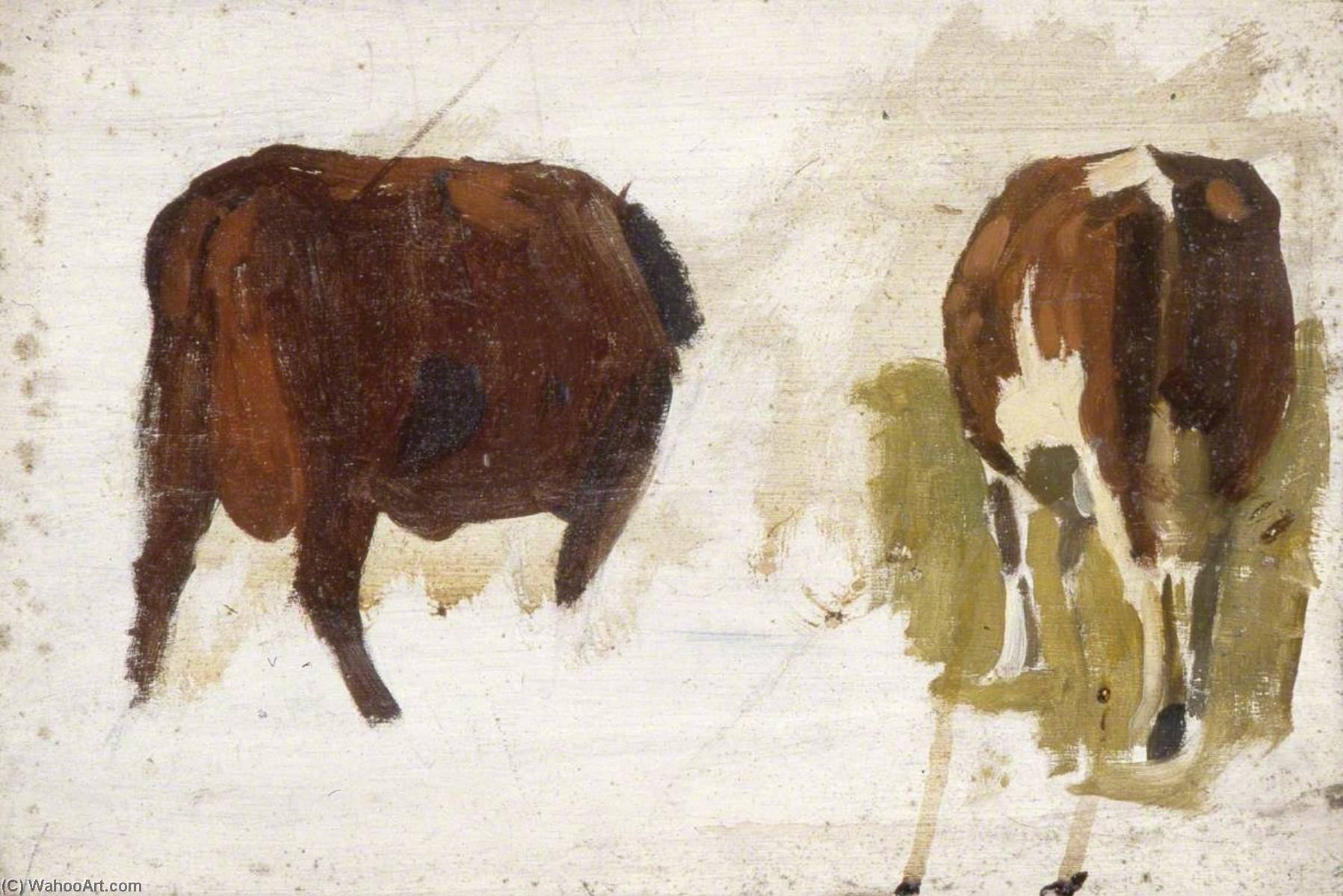 Cows from behind by Gunning King | Museum Art Reproductions | ArtsDot.com