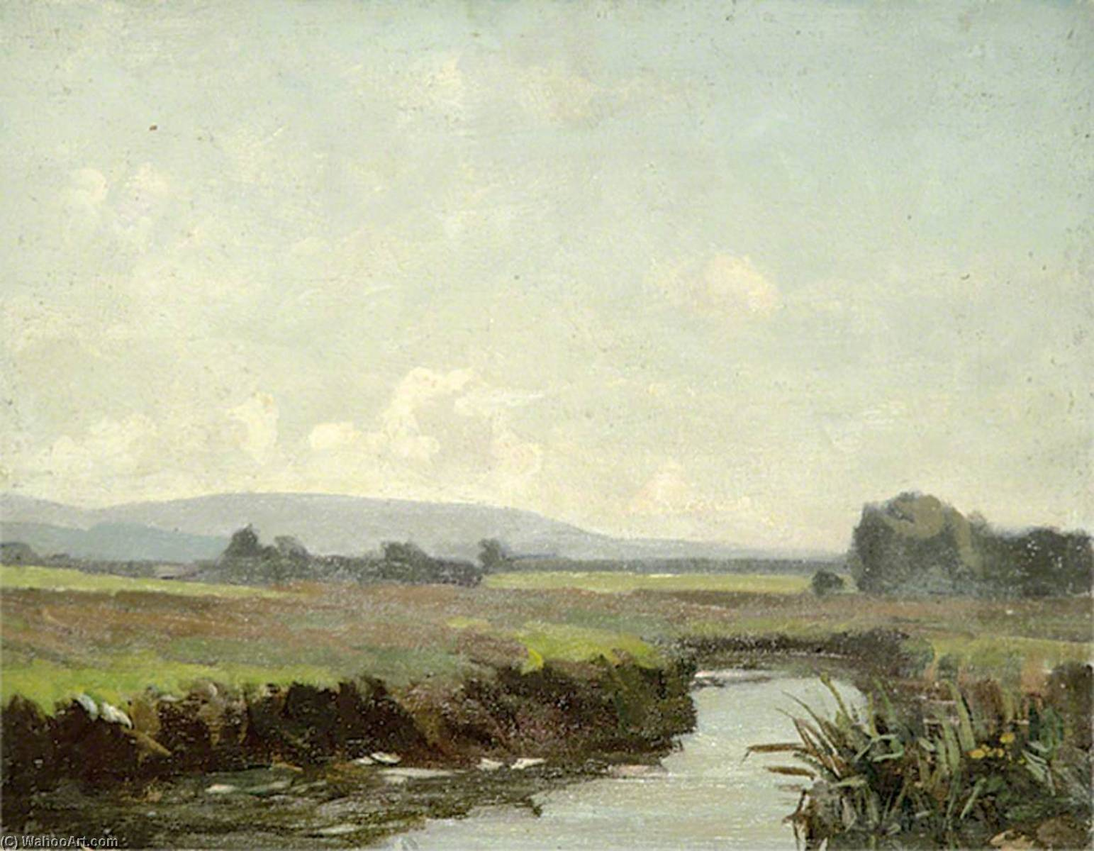 A River Running through Green Fields by Gunning King | Oil Painting | ArtsDot.com