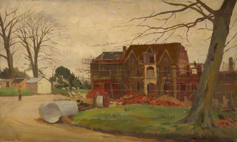 The Rebuilding of Hinton Ampner The South Front, 1937 by Donald Chisholm Towner | Paintings Reproductions Donald Chisholm Towner | ArtsDot.com