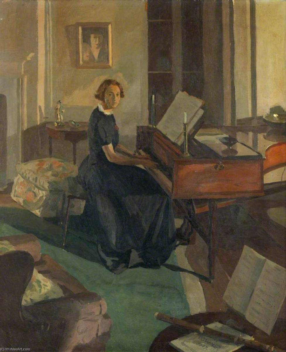 Alice Ashley at a Piano, 1936 by Donald Chisholm Towner | Museum Quality Copies Donald Chisholm Towner | ArtsDot.com