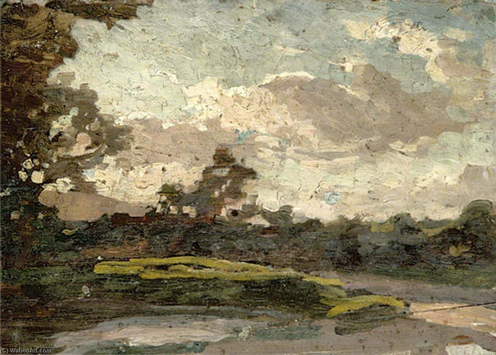 Landscape with a Pond in the Foreground, Large Tree on the Left by Gunning King | Reproductions Gunning King | ArtsDot.com