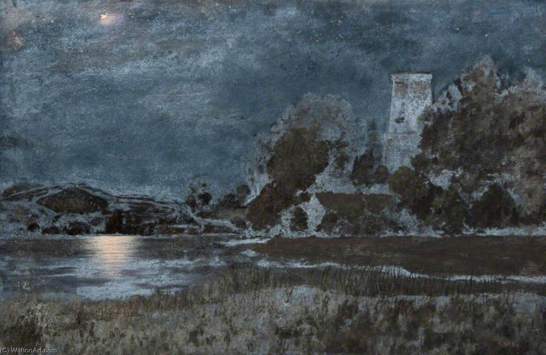 Stoke Gabriel, Moonlight, South Devon by Robert Lillie | Museum Quality Reproductions | ArtsDot.com
