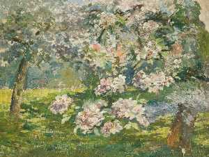 Lucy Marguerite Frobisher - Apple Blossom in the Gard..