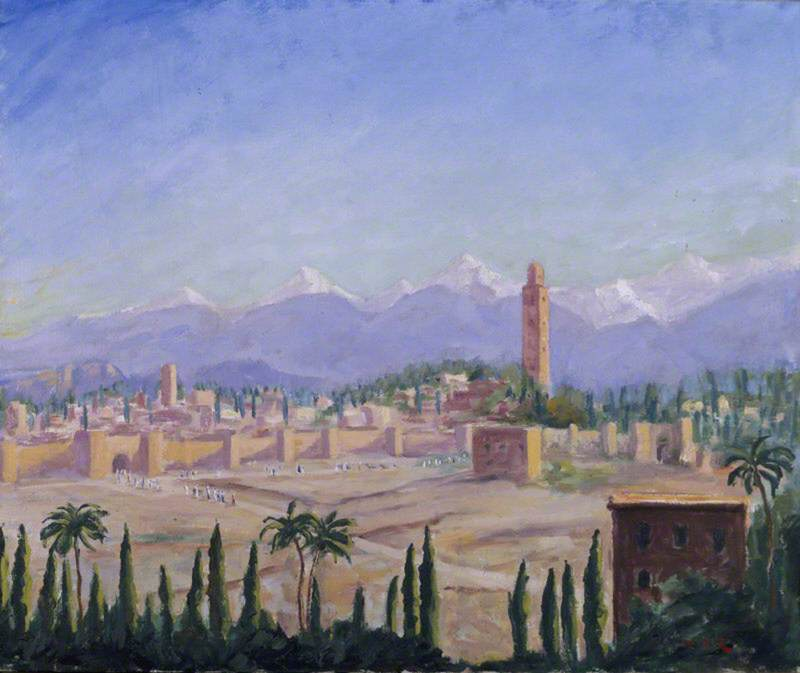 A View of Marrakech and the Atlas Mountains (III), 1935 by Winston Spencer Churchill (1874-1965) | Museum Art Reproductions | ArtsDot.com