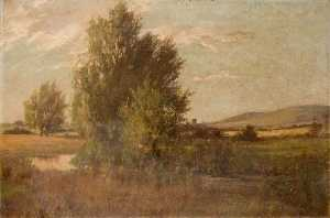 Theodor Kern - Landscape with a Tree by ..