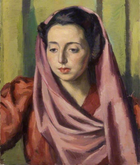 Portrait of a Woman with a Purple Shawl and a Red Dress by Theodor Kern | Paintings Reproductions Theodor Kern | ArtsDot.com