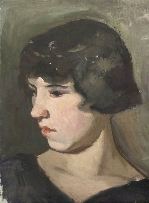 Portrait of a Girl with Dark Hair in Semi Profile by Theodor Kern | Art Reproduction | ArtsDot.com
