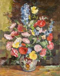 Theodor Kern - Flowers in a Vase with a ..