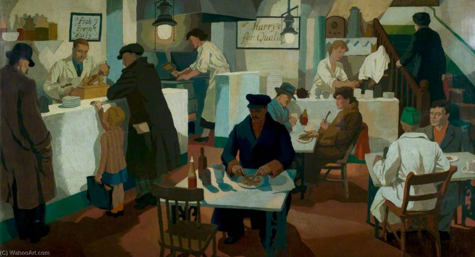 The Fried Fish Shop, 1936 by Cliff Rowe | Painting Copy | ArtsDot.com