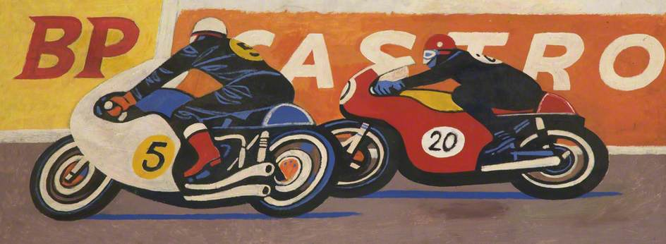 Bike Racers Cornering by Cliff Rowe | Art Reproduction | ArtsDot.com