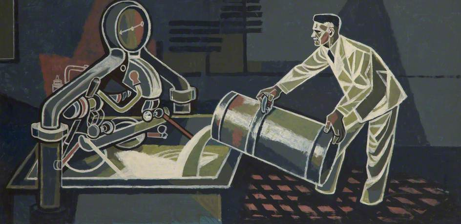 Man Pouring Liquid into Tank by Cliff Rowe | Reproductions Cliff Rowe | ArtsDot.com