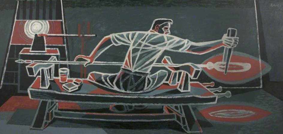 Man Drawing Out Molten Glass by Cliff Rowe | Painting Copy | ArtsDot.com