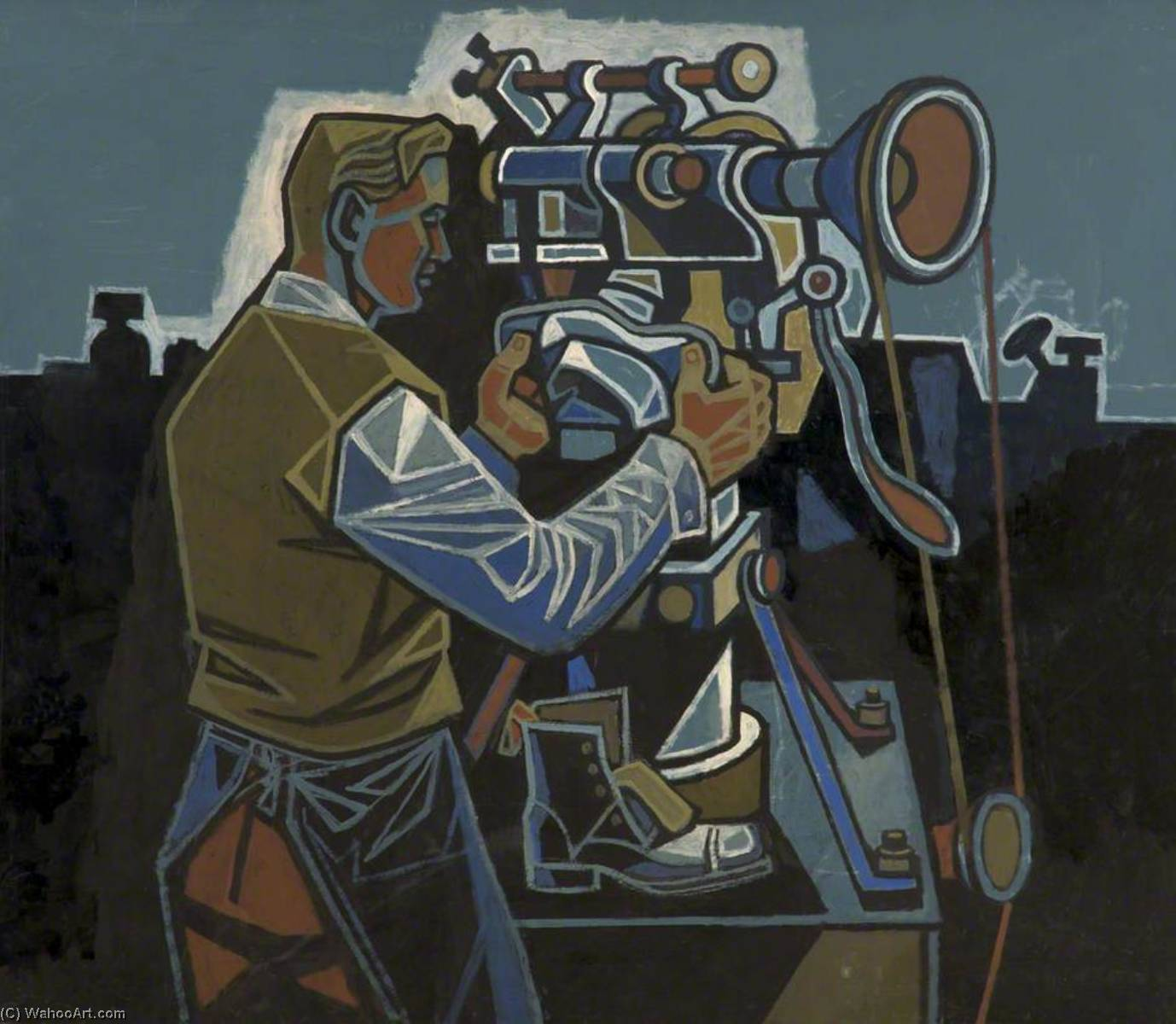 Man at Boot Machine by Cliff Rowe | Art Reproduction | ArtsDot.com