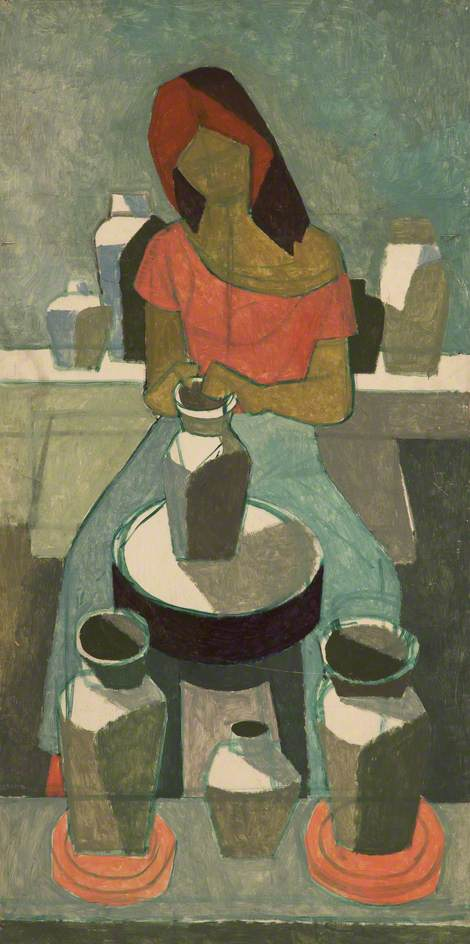 Woman Potter by Cliff Rowe | Oil Painting | ArtsDot.com