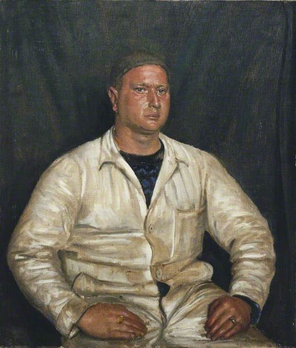 R. Dibnah, BEM, Motorman of the `Nonsuch` Blockade Runner, 1945 by Bernard Hailstone | Oil Painting | ArtsDot.com