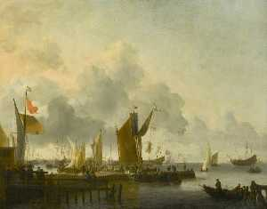 Ludolf Backhuysen - A Dutch Harbour with Nume..