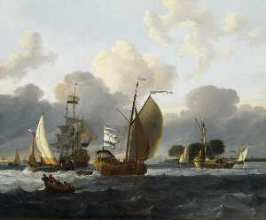 Ludolf Backhuysen - A Dutch Yacht before the ..
