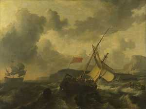 Ludolf Backhuysen - An English Vessel and a M..