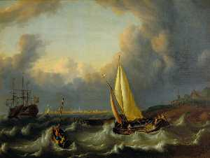 Ludolf Backhuysen - Seascape, Harbour with a ..