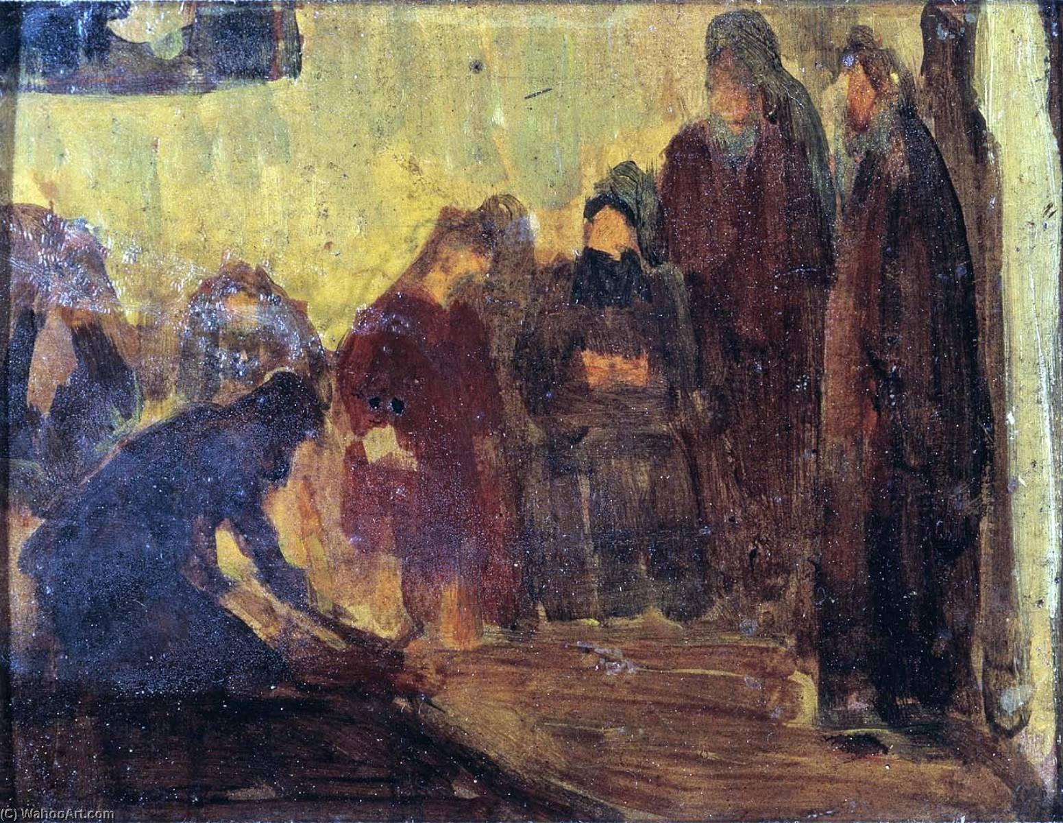 Study, Christ Washing the Feet of the Disciples by Henry Ossawa Tanner (1859-1937, United States) | Oil Painting | ArtsDot.com