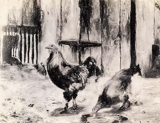 Barnyard Fowl, (painting), 1870 by Henry Ossawa Tanner (1859-1937, United States) | Oil Painting | ArtsDot.com