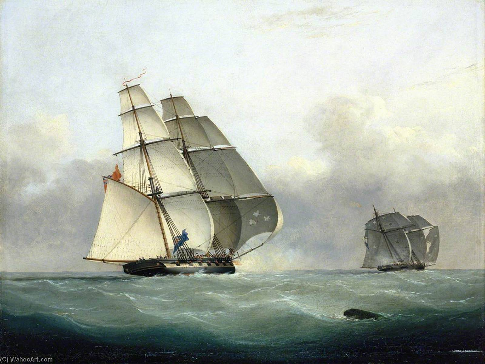 The Capture of the Slaver `Gabriel` by HMS `Acorn`, 6 July 1841, 1841 by Nicholas Matthew Condy (1816-1851) | Painting Copy | ArtsDot.com