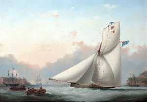 Nicholas Matthew Condy - A Cutter Yacht in Plymouth Sound