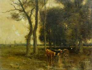 Archibald David Reid - Landscape with Cattle