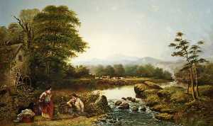 William Widgery - Landscape with Figures by..