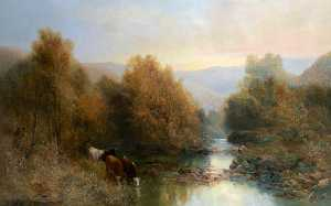 William Widgery - Cattle by the Dart in Aut..