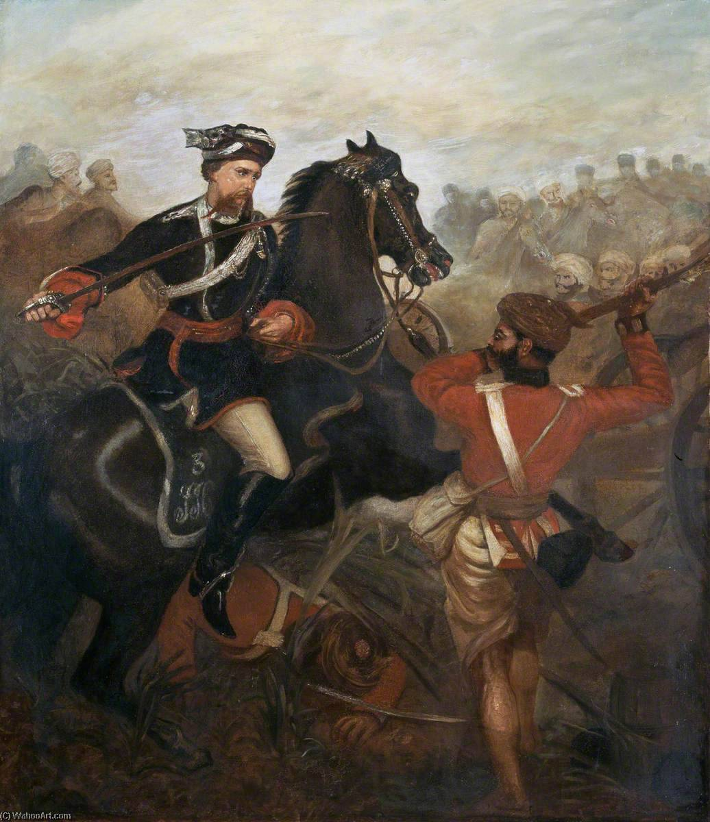 Lieutenant Frederick Robertson Aikman (1828–1888), 4th Regiment (Bengal) Native Infantry, Commanding 3rd Regiment (Sikh) Irregular Cavalry, Winning the Victoria Cross at Lucknow, Indian Mutiny, 1 March 1858, 1860 by Louis William Desanges (1822-1887, United Kingdom) | Reproductions Louis William Desanges | ArtsDot.com