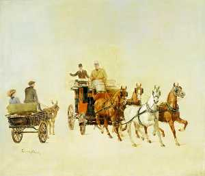 James Lynwood Palmer - A Dog Cart and Stage Coac..