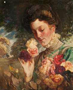William Somerville Shanks - Woman with Roses