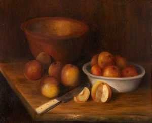 Rosalie Chichester - Still Life of Apples with Bowls and a Knife