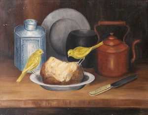Rosalie Chichester - Still Life with Canaries ( ) and Bread