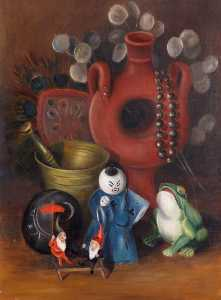 Rosalie Chichester - Still Life with Ceramic Figures and a Frog