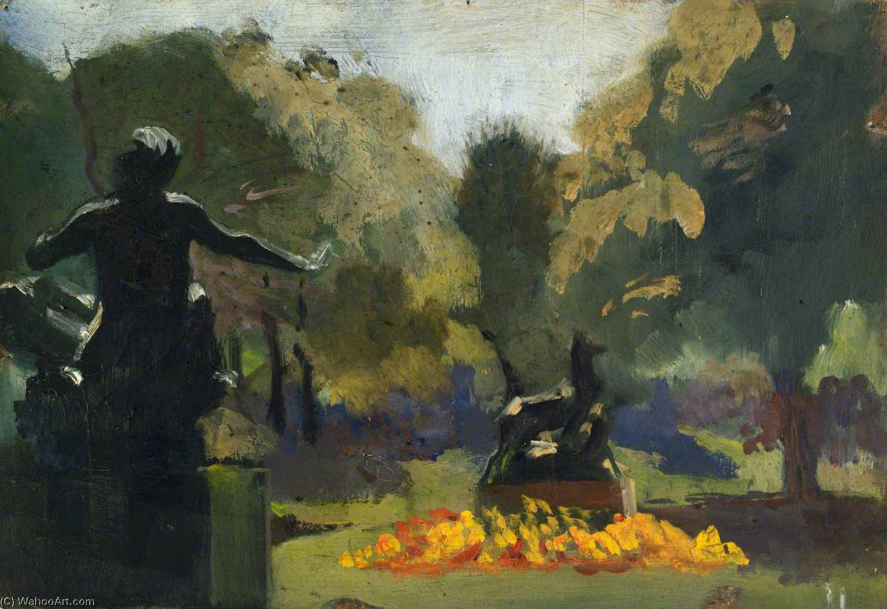 Classical Statues in a Garden, 1920 by John Kelt Edwards | Reproductions John Kelt Edwards | ArtsDot.com