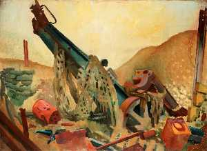 Colin Unwin Gill - A Captured Howitzer at Fa..