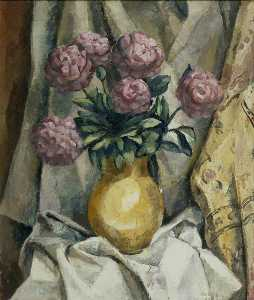 Frederick James Porter - Peonies in a yellow Vase